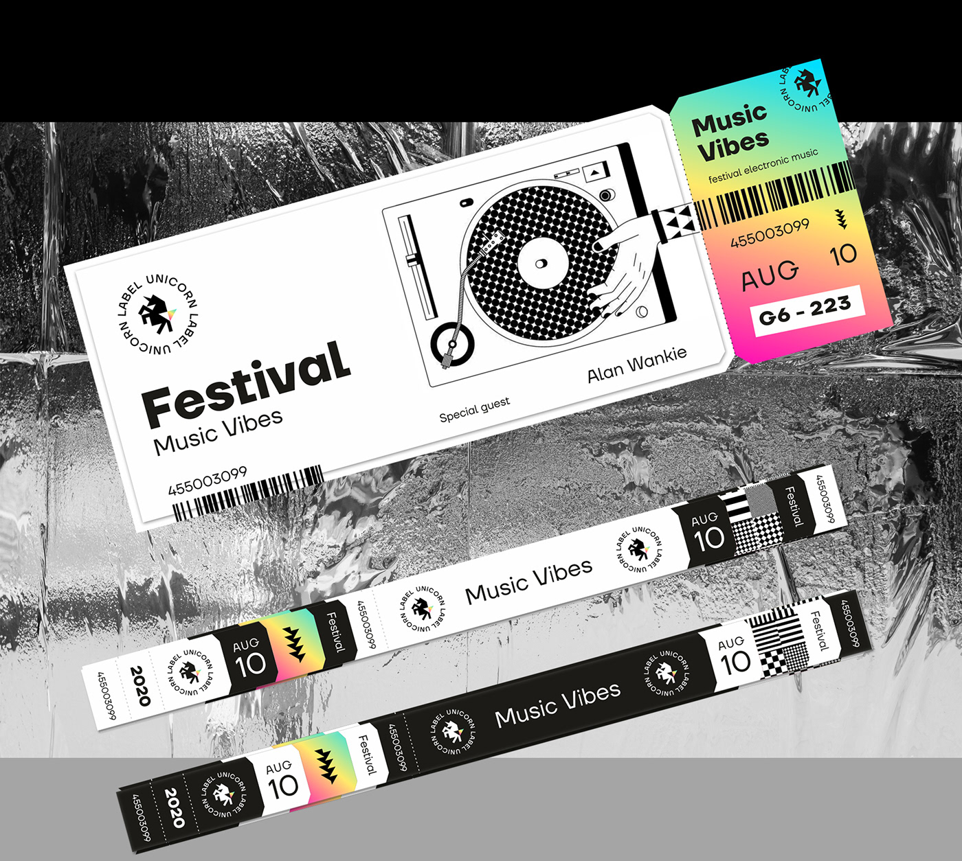 logo music unicorn metalic holograph rainbow Electonic dj festival Label