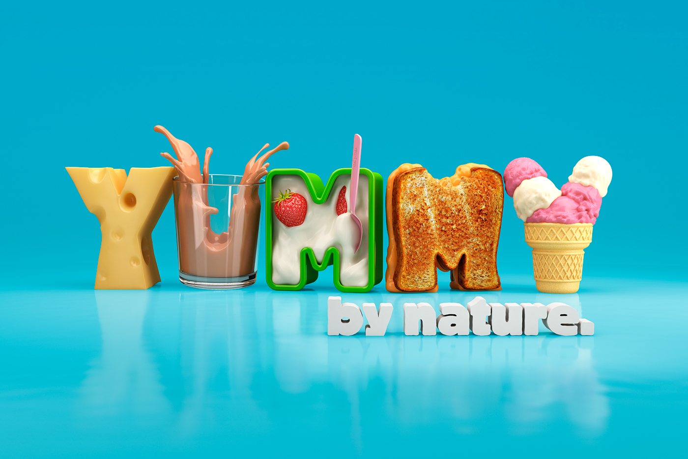 Food  sports 3D Type 3D typography 3D Graphics inflatable colour