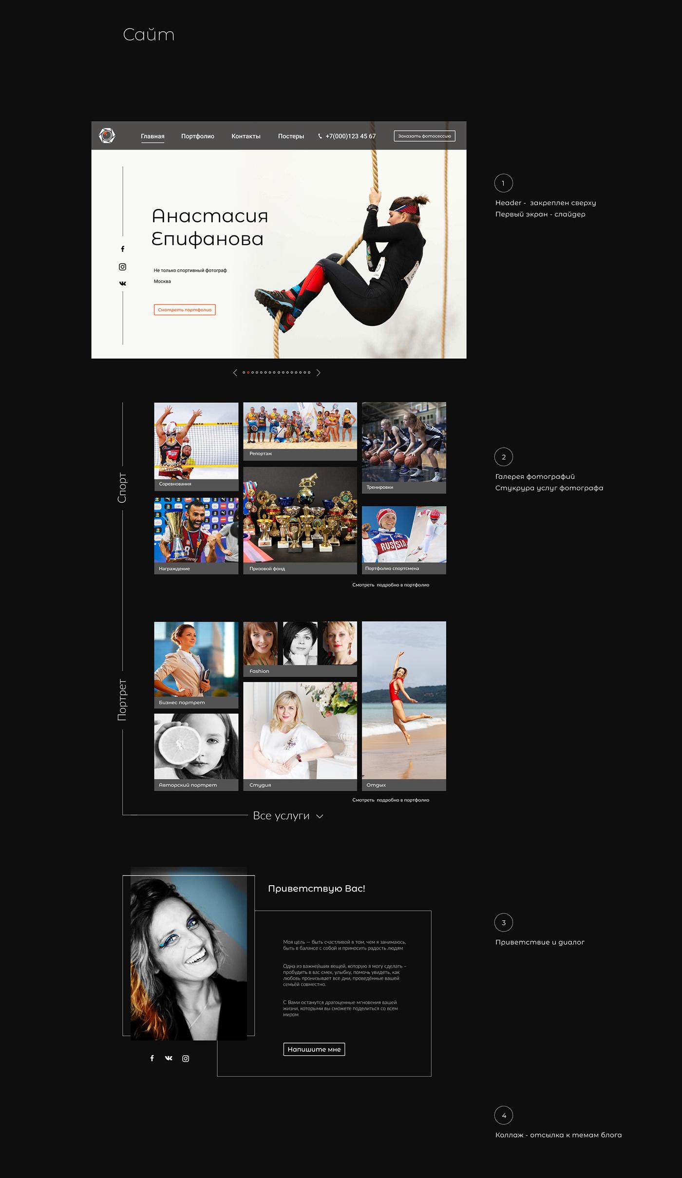 PHOTOGRAFER'S SITE Главная страница сайта ЕПИФАНОВА  ФОТОГРАФ логотип для фотографа сайт для фотографа ui kit Сайт фотографа