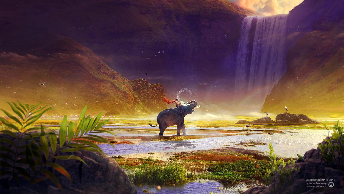 desktopography,Montreal,Matte Painting,Karim Fakhoury,elephant,monk,shambhala,Thailand,vietnam,buddhism