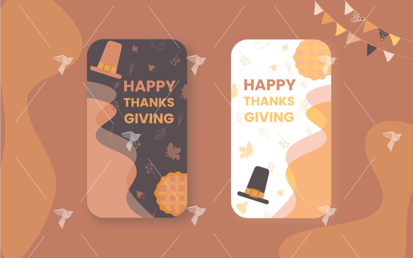 celebration happy hat Holiday instagram pie post screen thanksgiving ui design