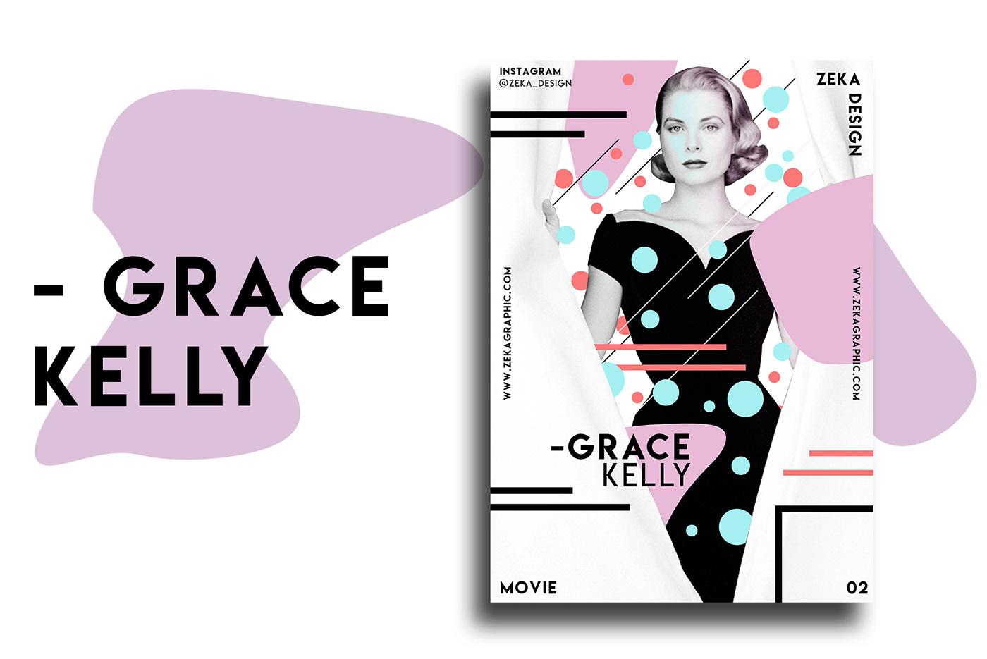 Poster Design graphic design  movie Audrey Hepburn poster Minimalism colorful art direction  james dean fred astaire