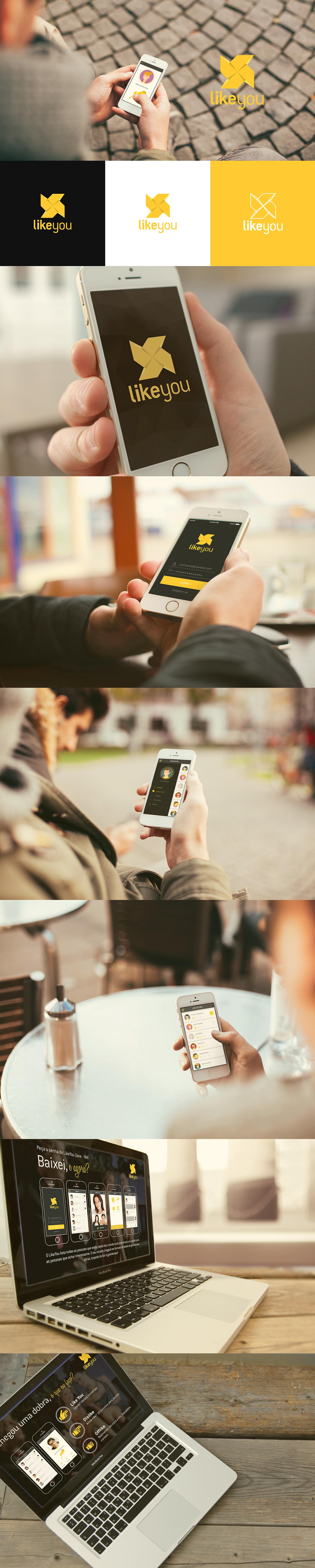 aplicativo relacionamento likeyou app friends tecnology yellow people brand logo Interface
