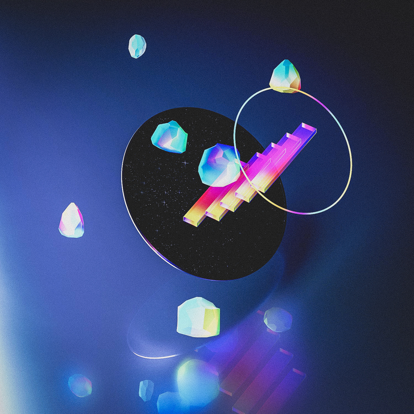 Space  Planets cinema 4d galaxy Galaxia Synthwave vaporwave iridescent neon Retro