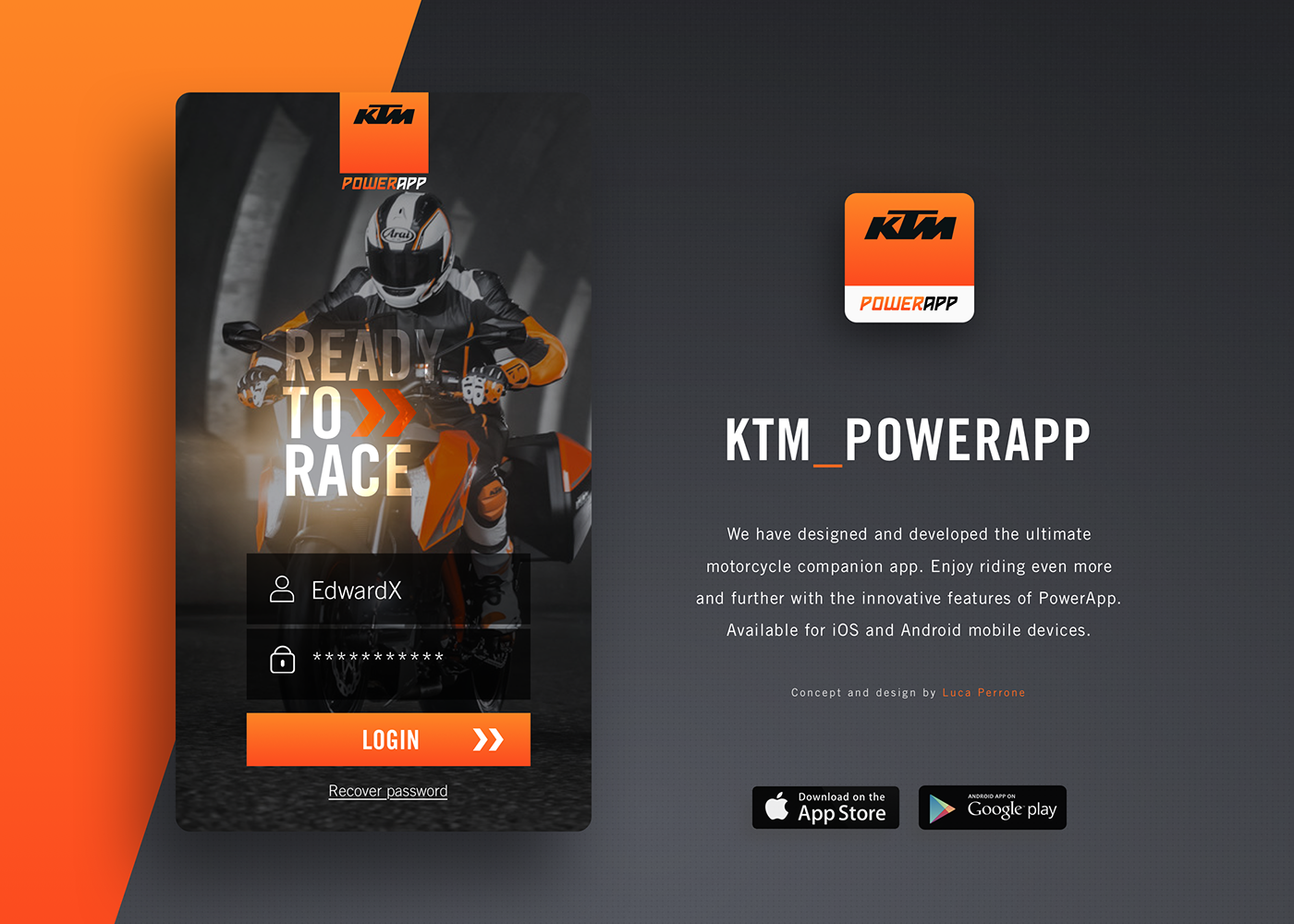 motorcycle UI interaction mobile app ux design Interface orange automotive