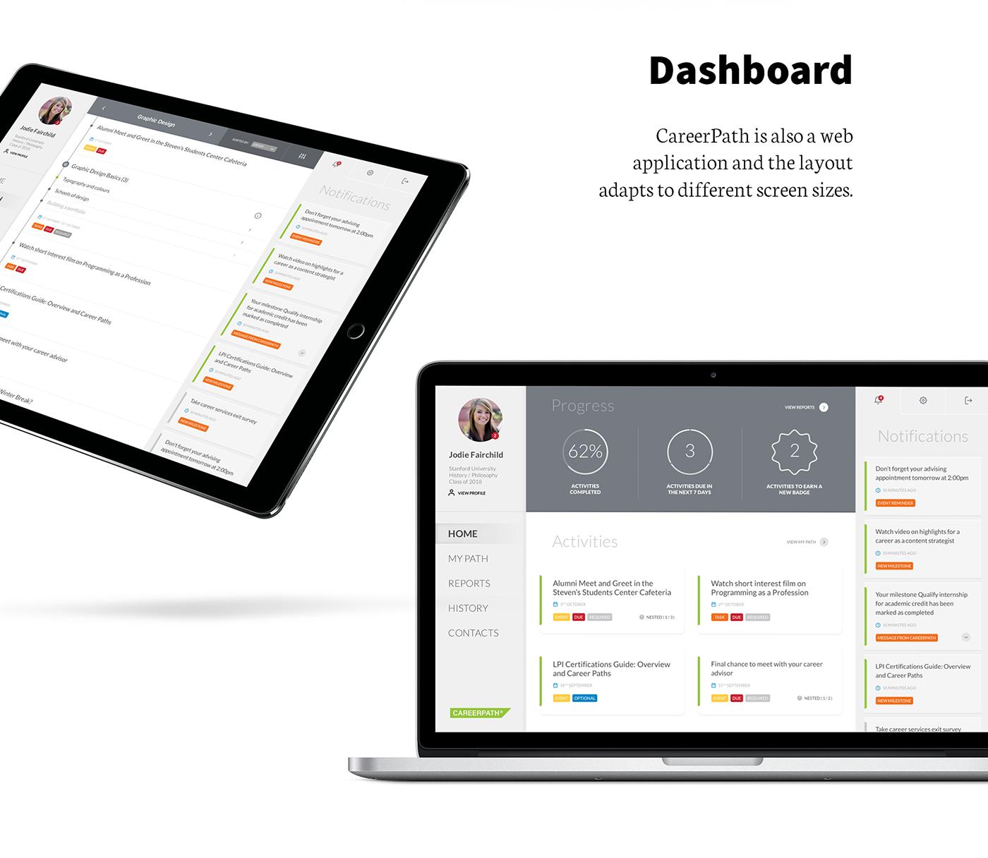 app college student career Education Badges stats Responsive dashboard timeline
