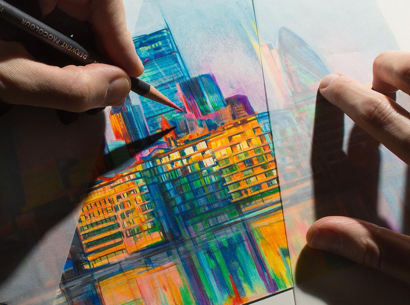 Derwent pencils Colorpencils sketch buildings architecture louvre big ben
