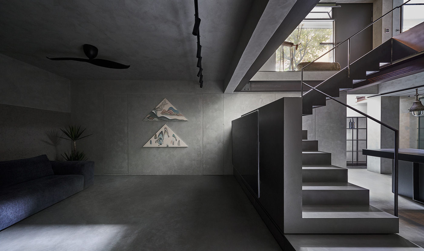 apartment architecture gray heycheese interior design  kc design taiwan yoga interior basement Residence