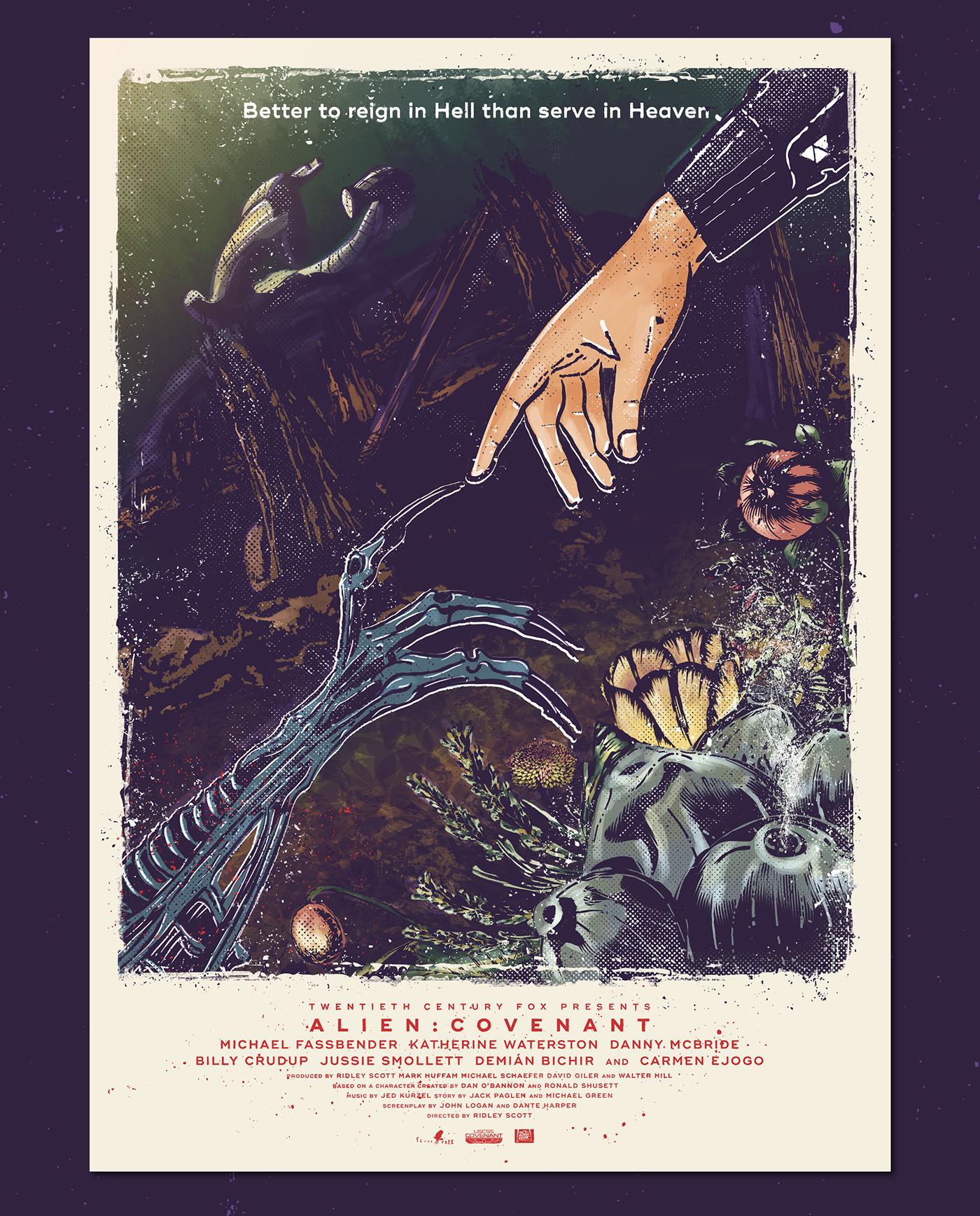 alien covenant fan made movie poster ridley scott print vintage