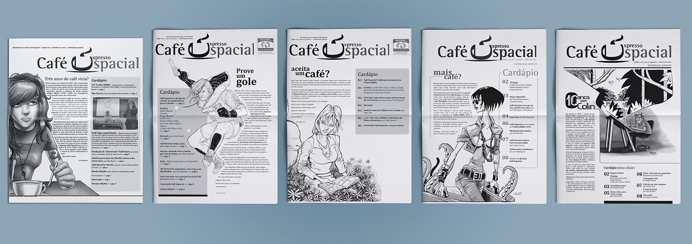 Café Espacial identidade visual marca CafeEspacial magazine underground comics art cultura pop