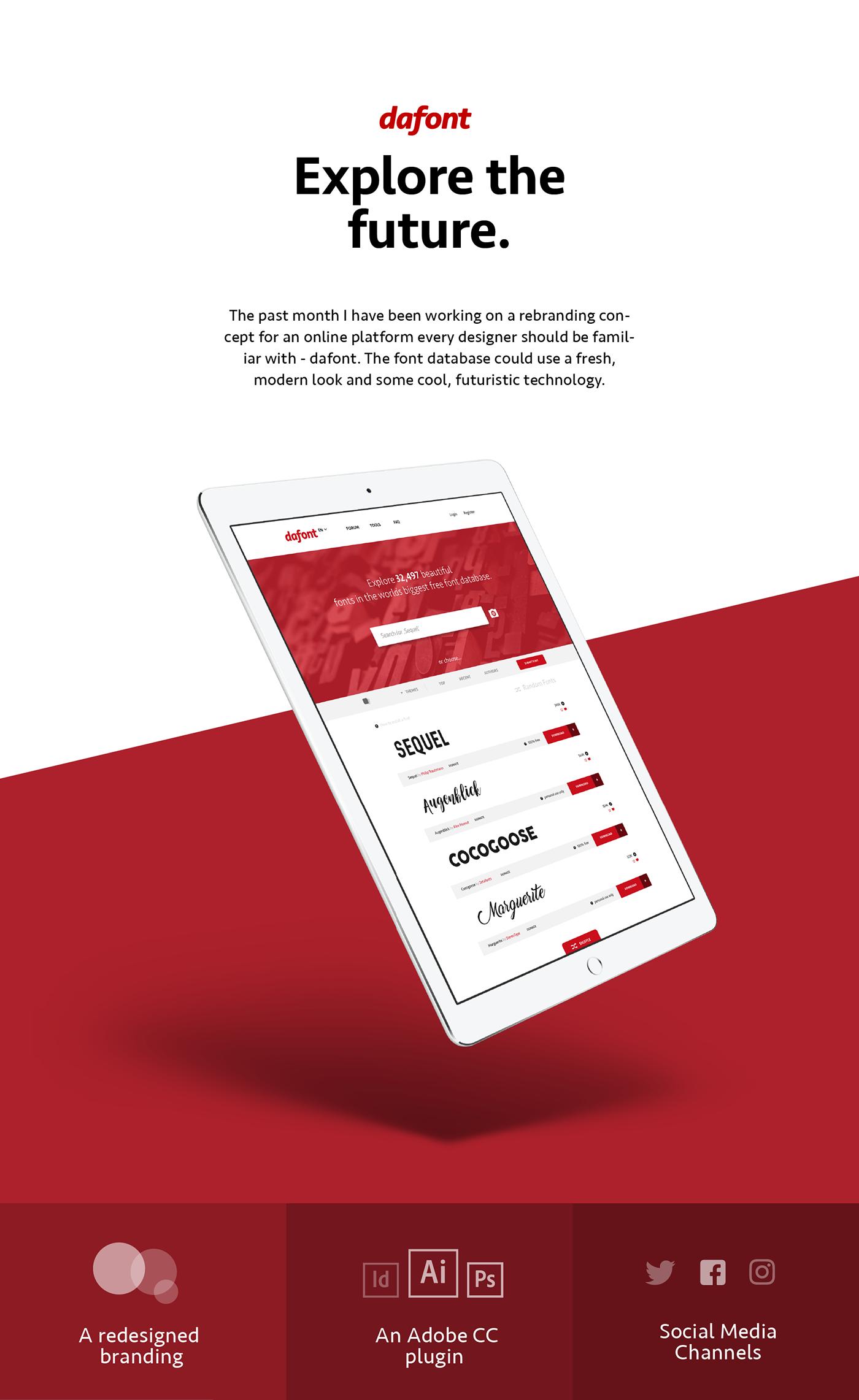 dafont rebranding concept - explore the future on Behance