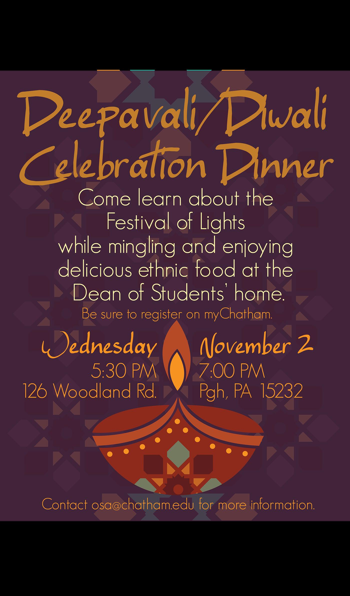Diwali Dinner Flyer for Chatham University on Behance