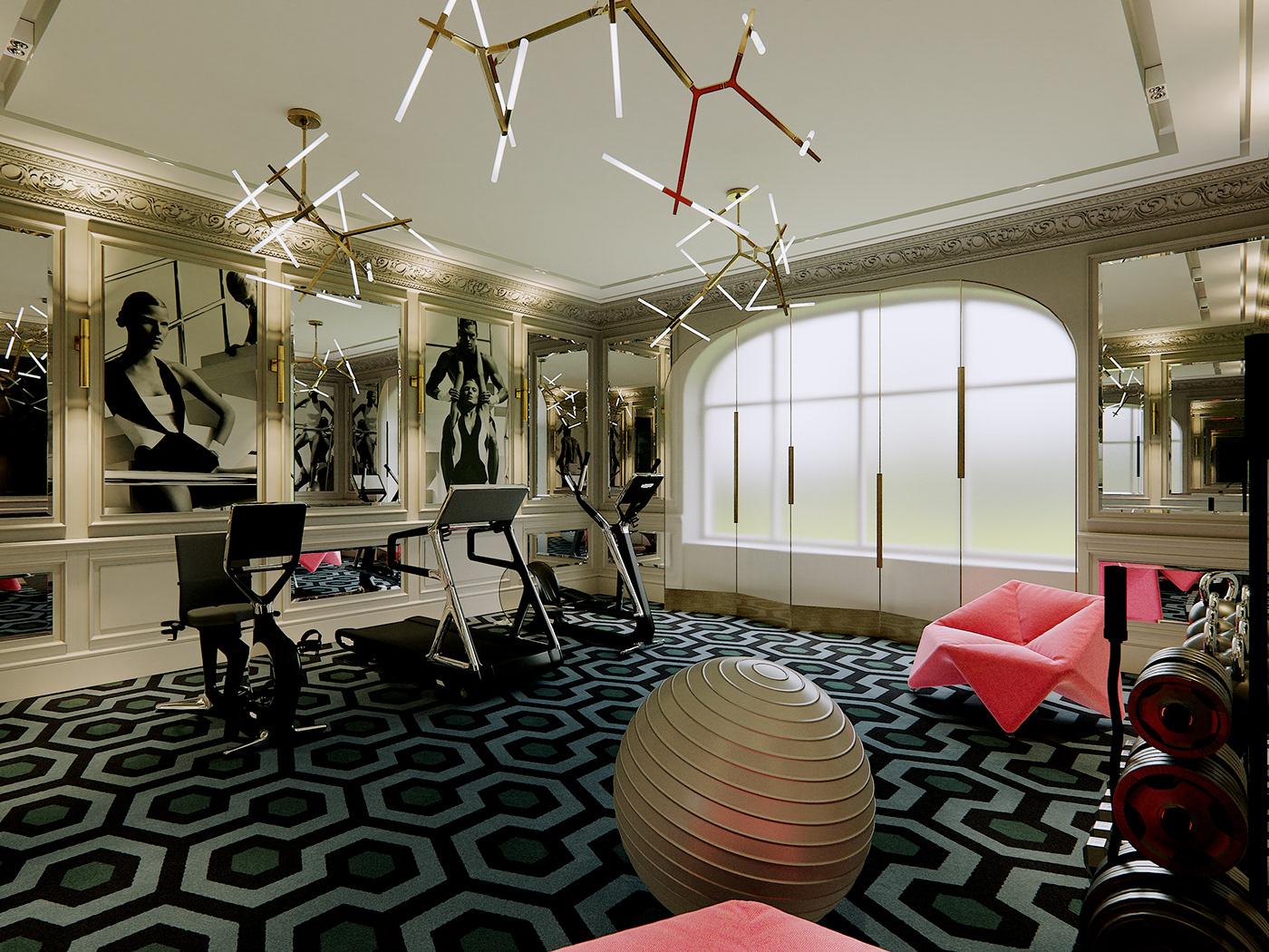 gym clasics modern Interior Vizualization Render