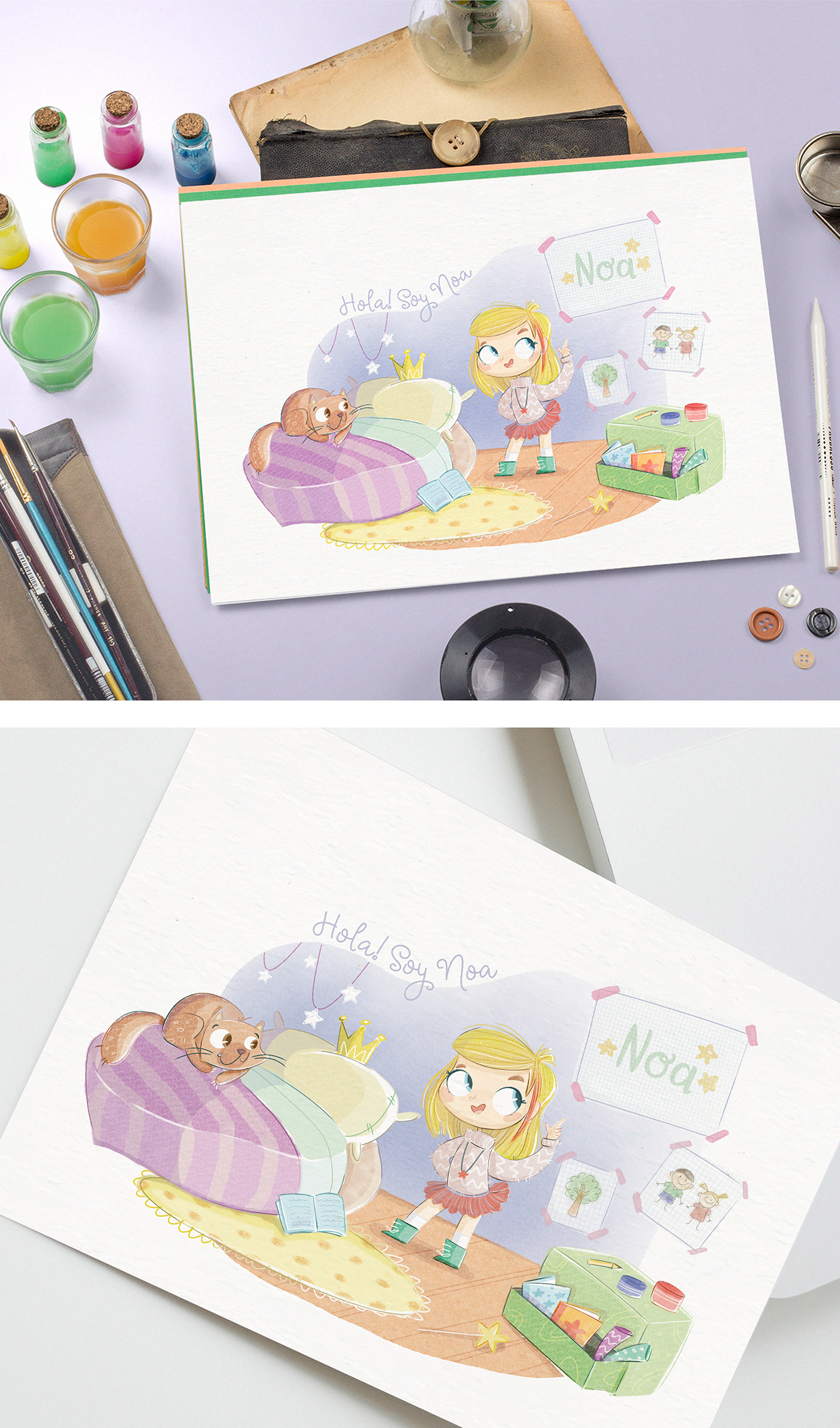watercolour Gato niña infantil cute kawaii