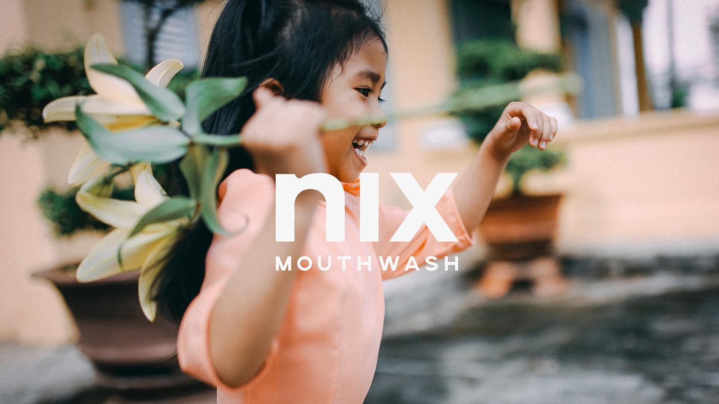 Mouthwash nix teeth natural peppermint logo branding  Packaging package Ecommerce