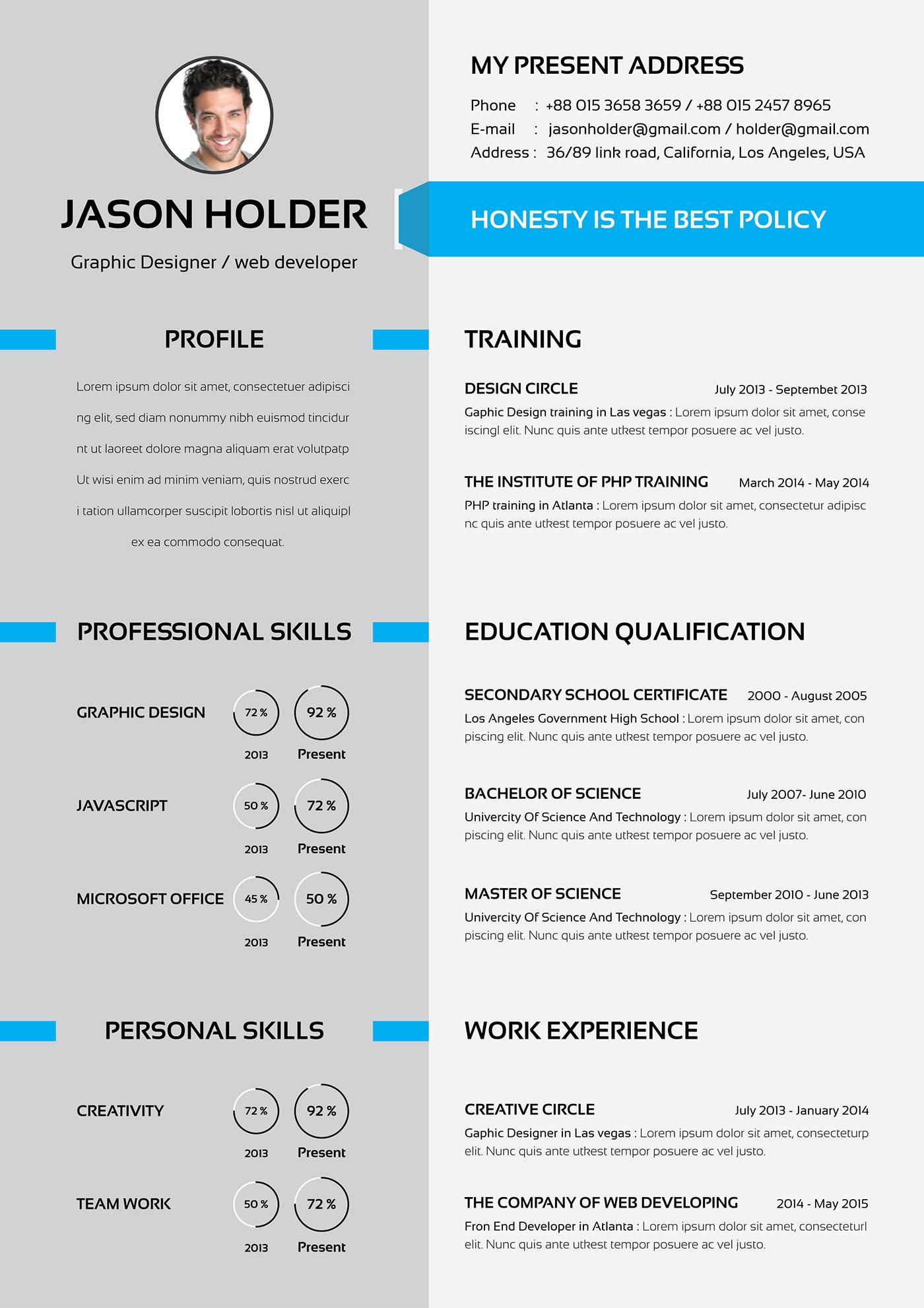 Resume/cv on Behance