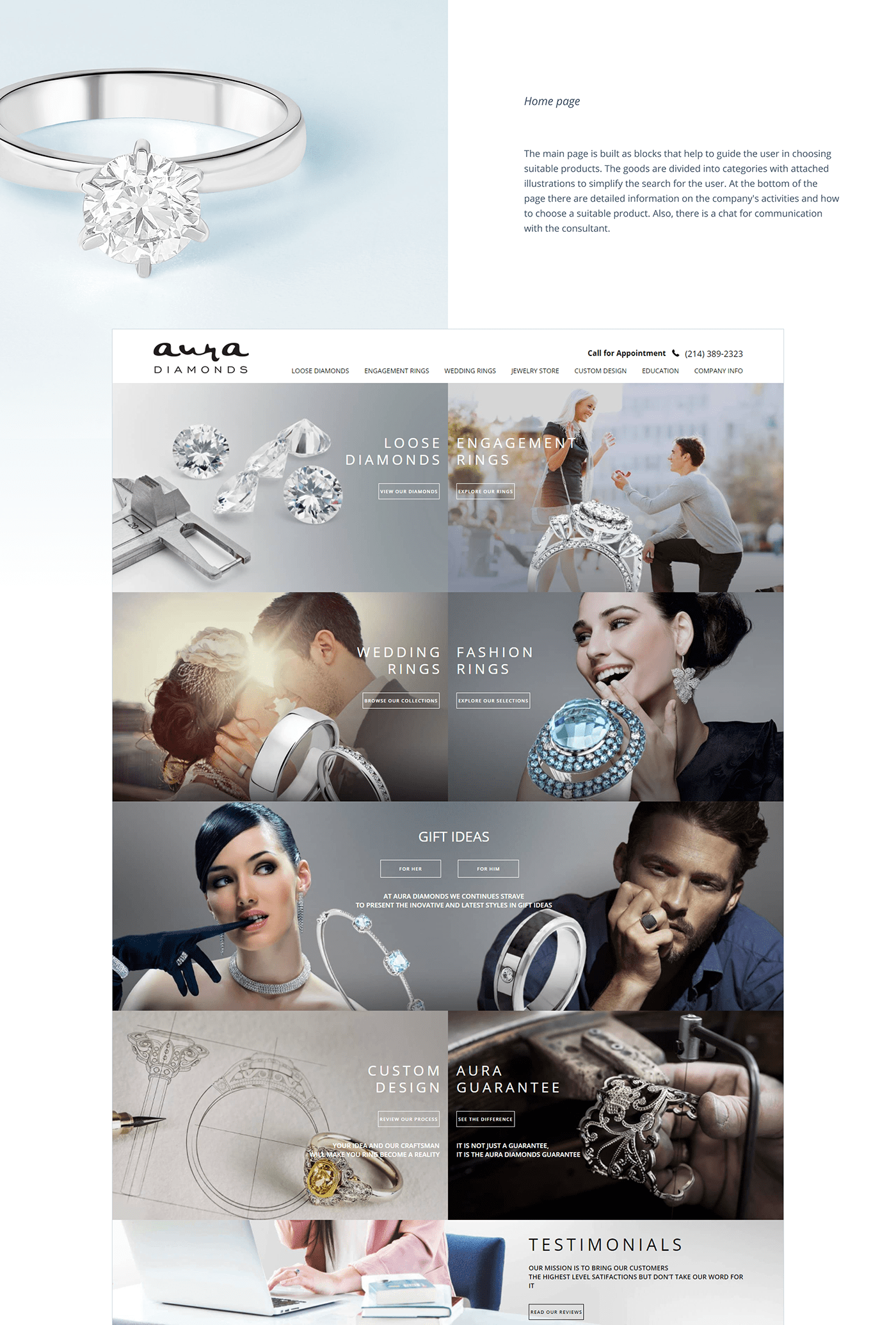 Adaptive Aura design diamonds jewelry site store UI/UX vis-a-vis Web