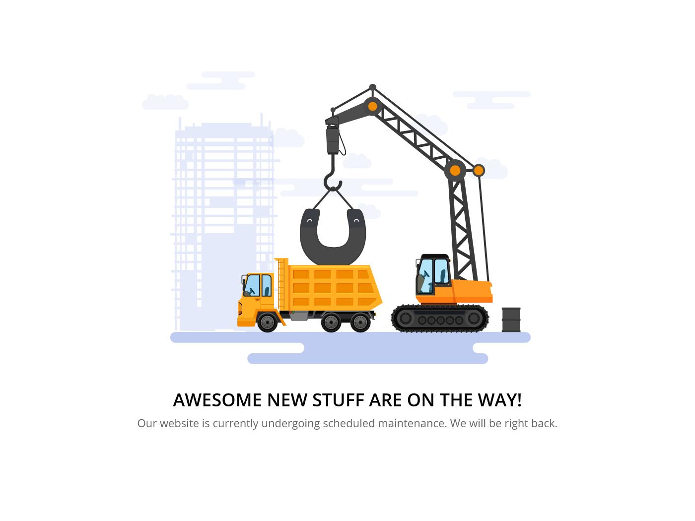 page tools upgrade ILLUSTRATION  crane construction bulldozer building app maintenance