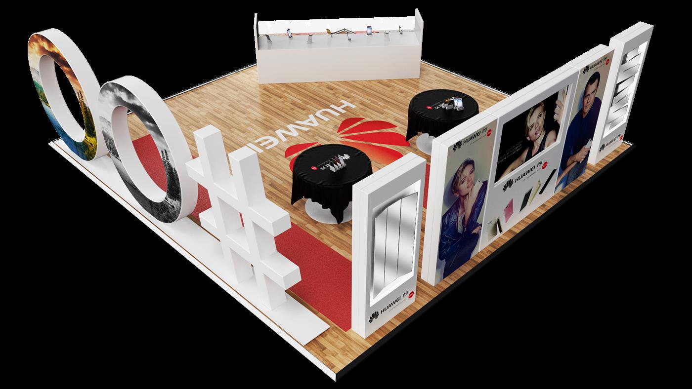 huawei P9 activation branding  cinema 4d 3D vray phone selfie camera