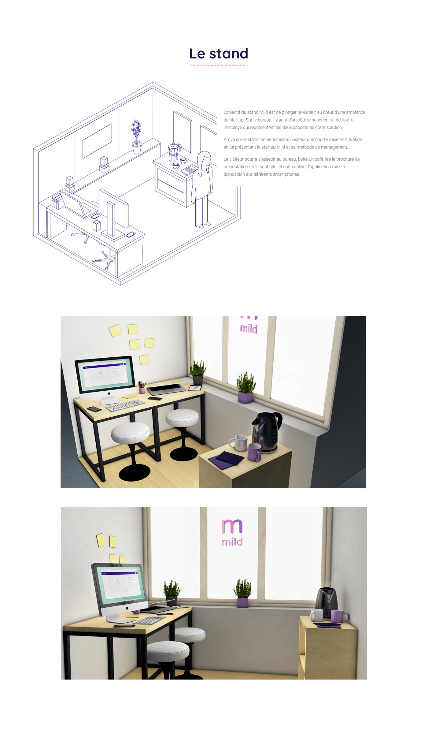 mobile app mild stress management Startup relax meditation UX design ia