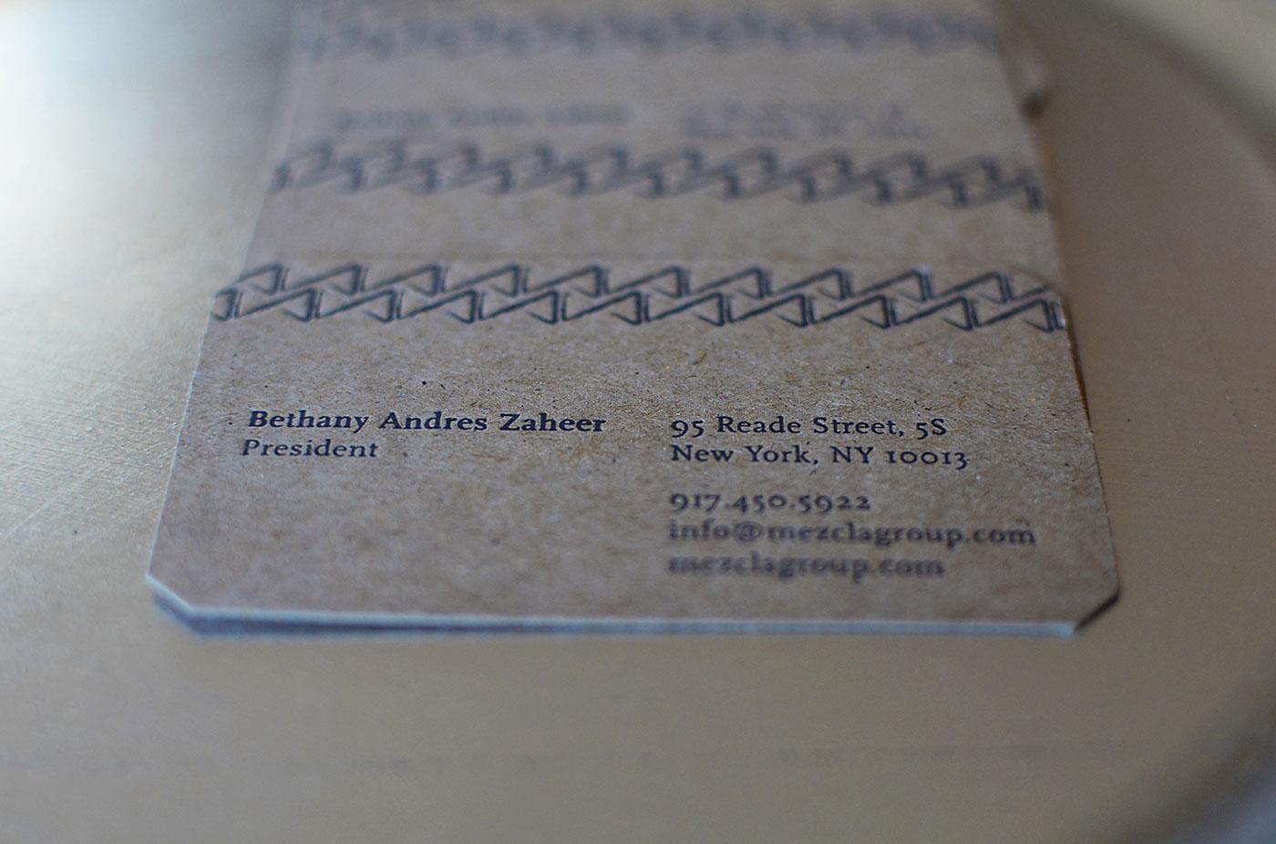 Letterpressed Business Card design for NYC Interior Designer