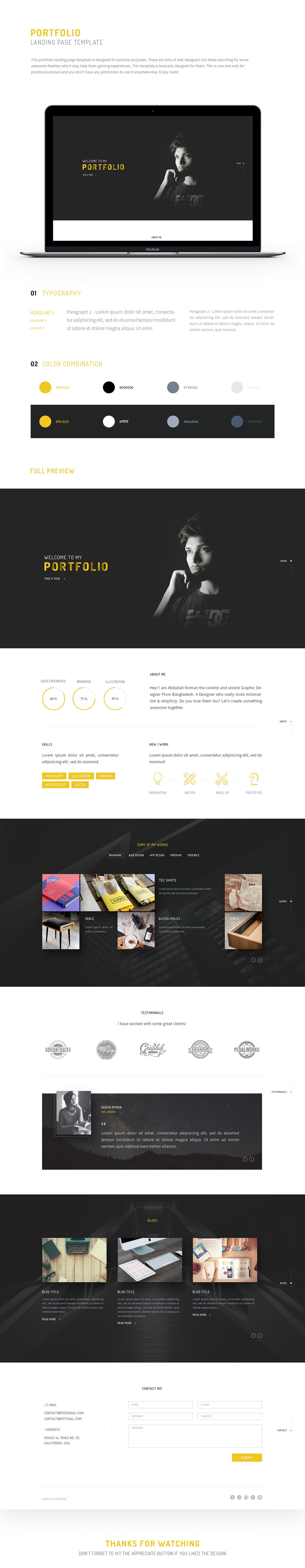 Web Design  landing page template portfolio Practice One Page minimal