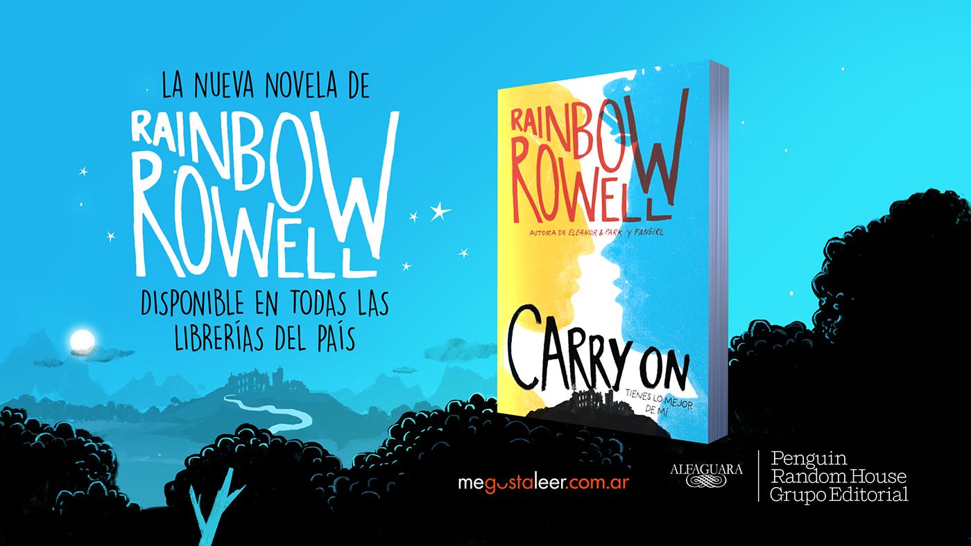 CARRY ON book trailer fire forest magic school Rainbow Rowell penguin cardolina watford simon y baz