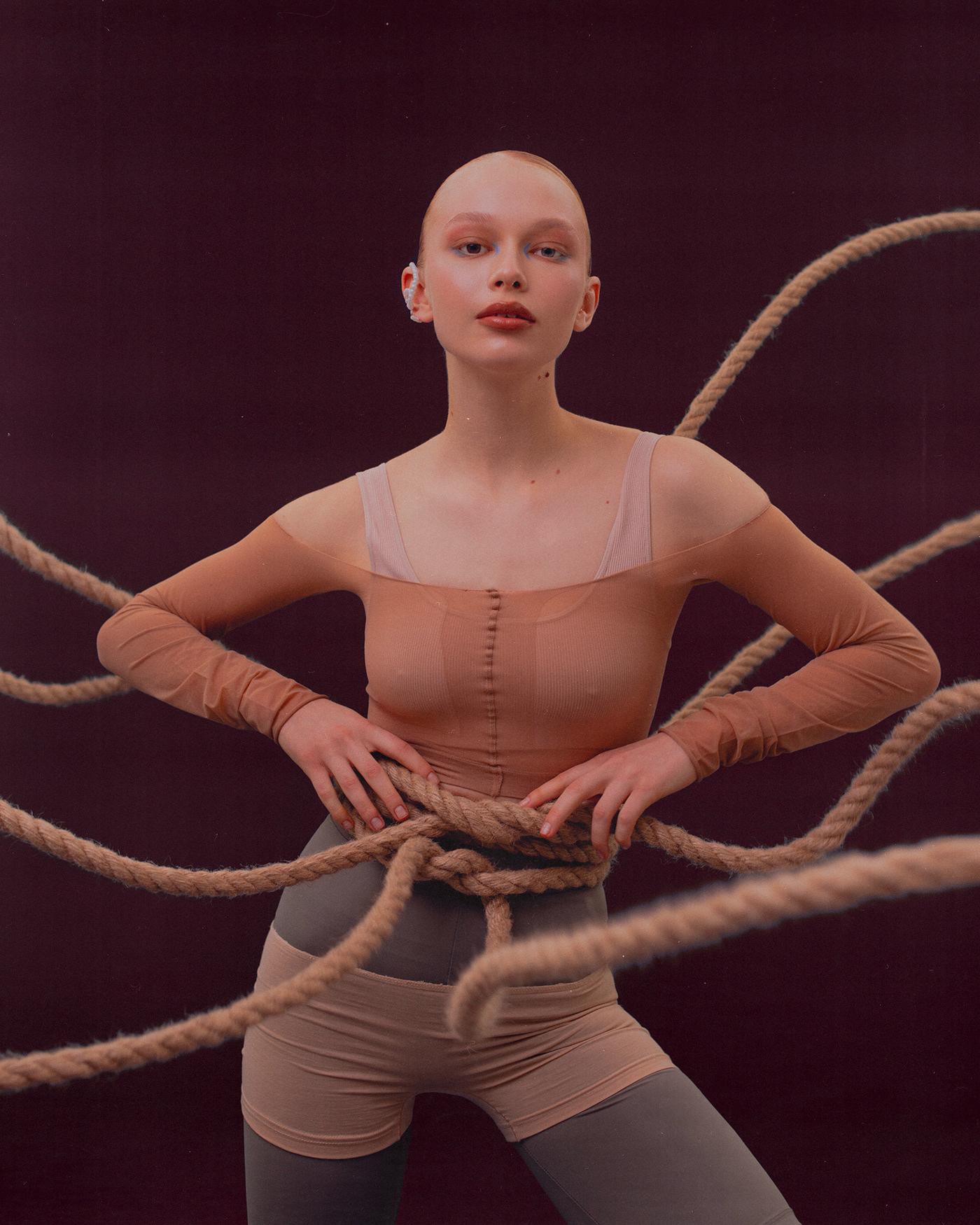 editorial Fashion  models posing studio Yoga