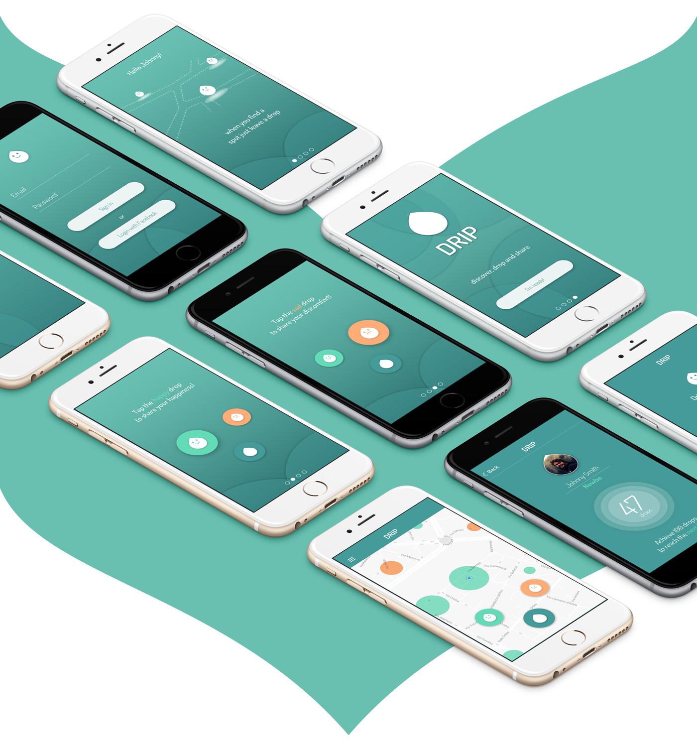 app UX design ui design mobile interaction visual animation  ios drop reviews