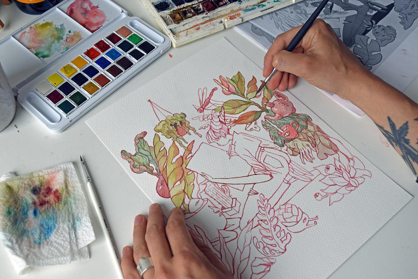 drosteeffect watercolor