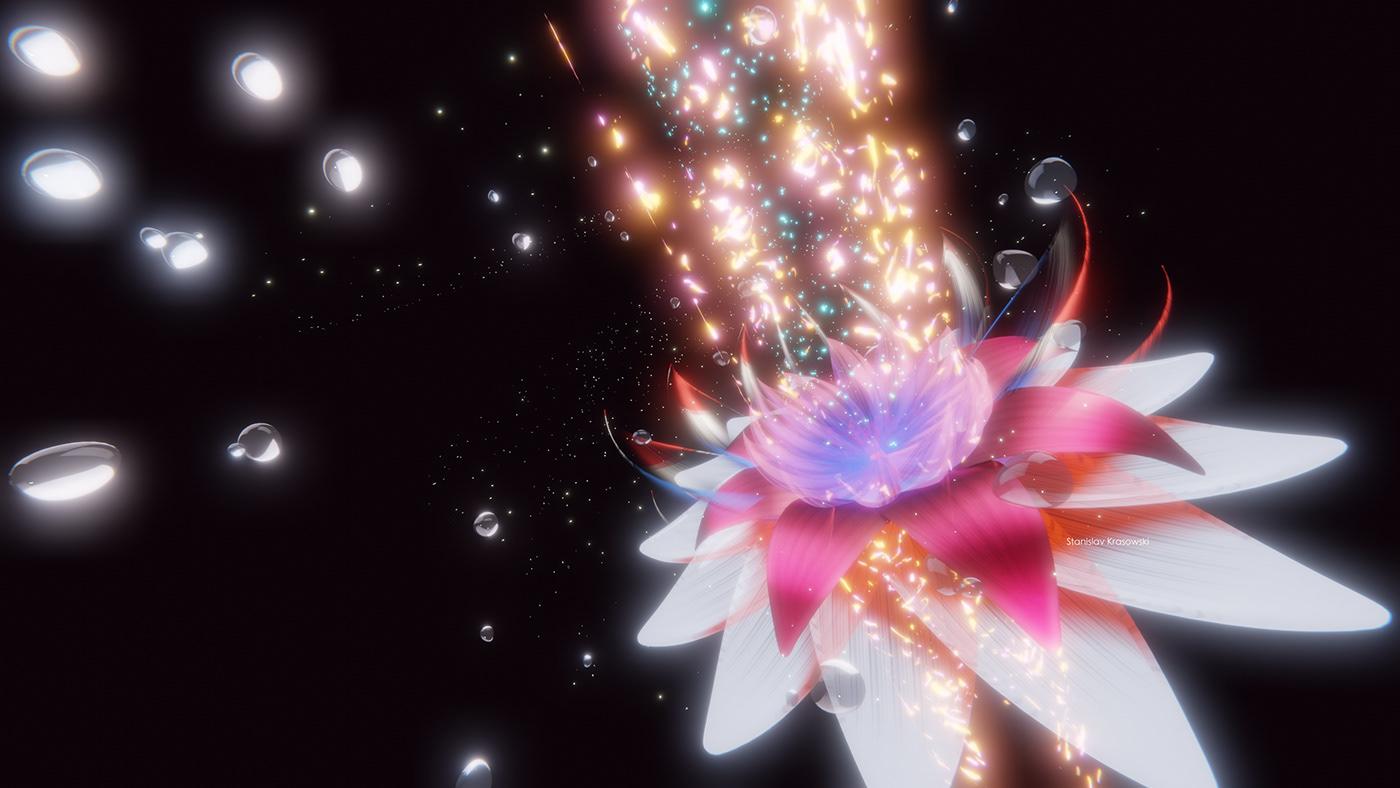 3d flowers with Blender 3d eevee