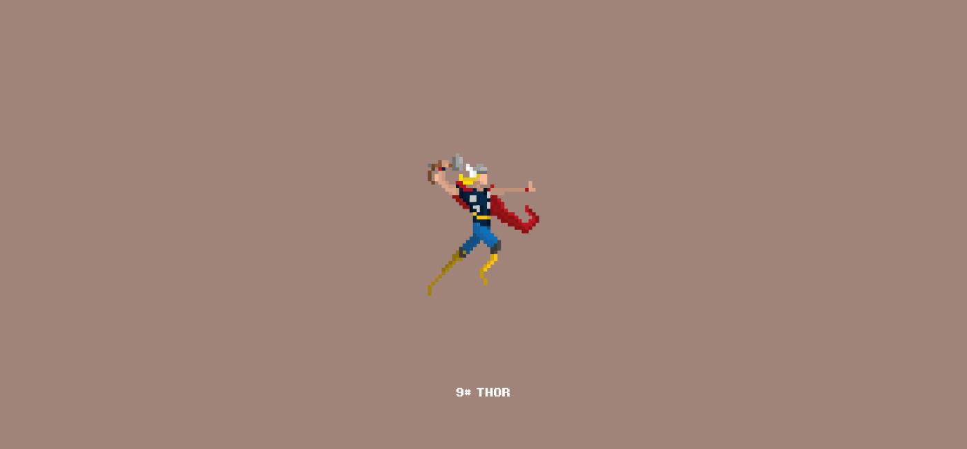 Marvel Character Design Behance : Pixel art marvel characters on behance