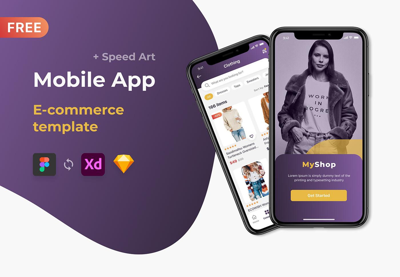 Mobile App (E-commerce template\Shop\Store) Free download