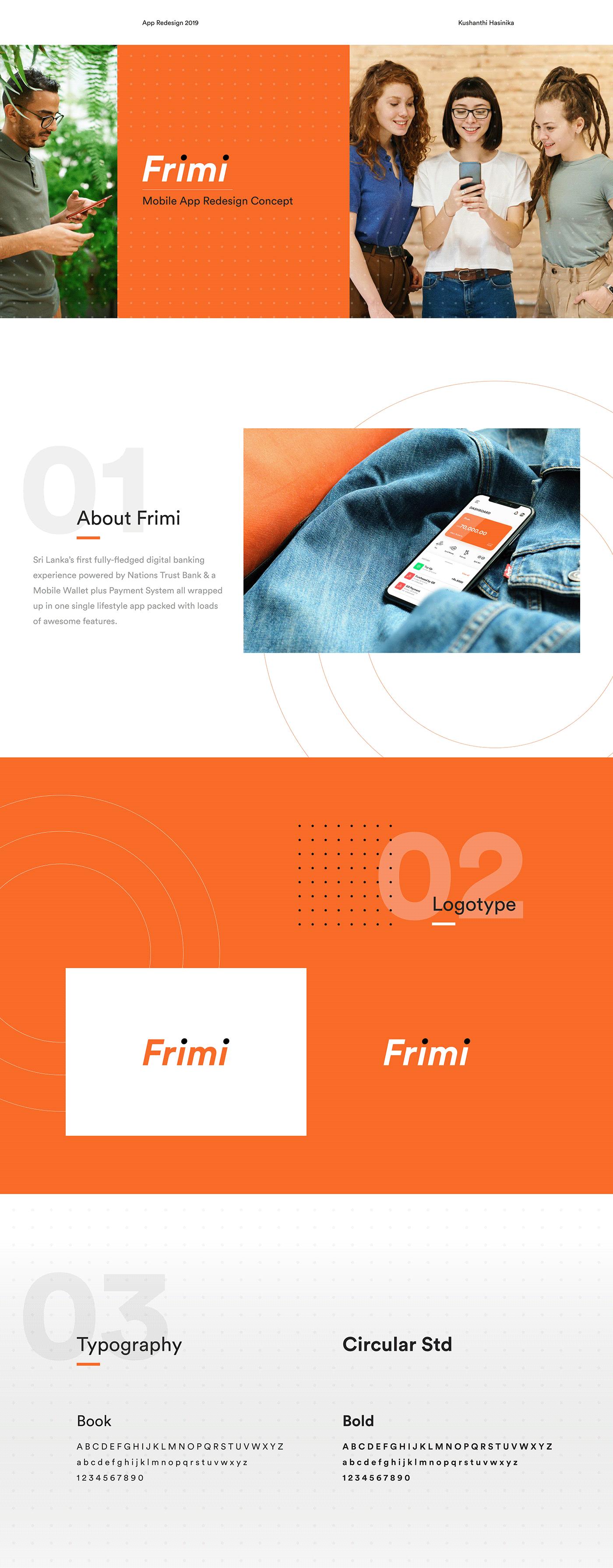 Mobile app Adobe XD concept design UI ux redesign banking app Frimi