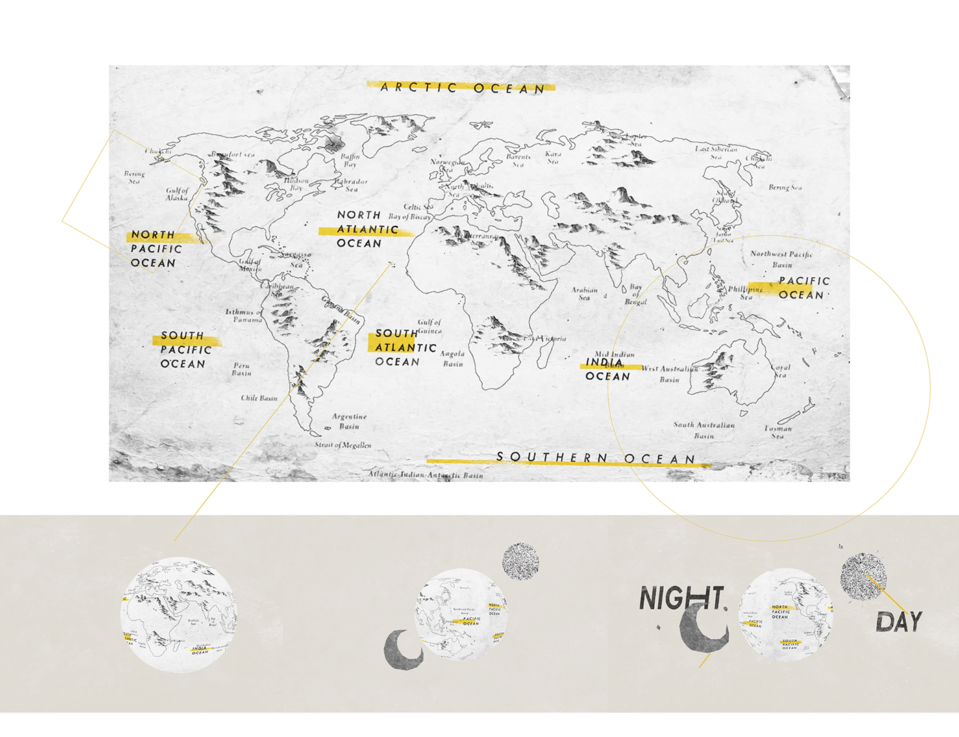 Day and night world map on behance world map gumiabroncs Gallery
