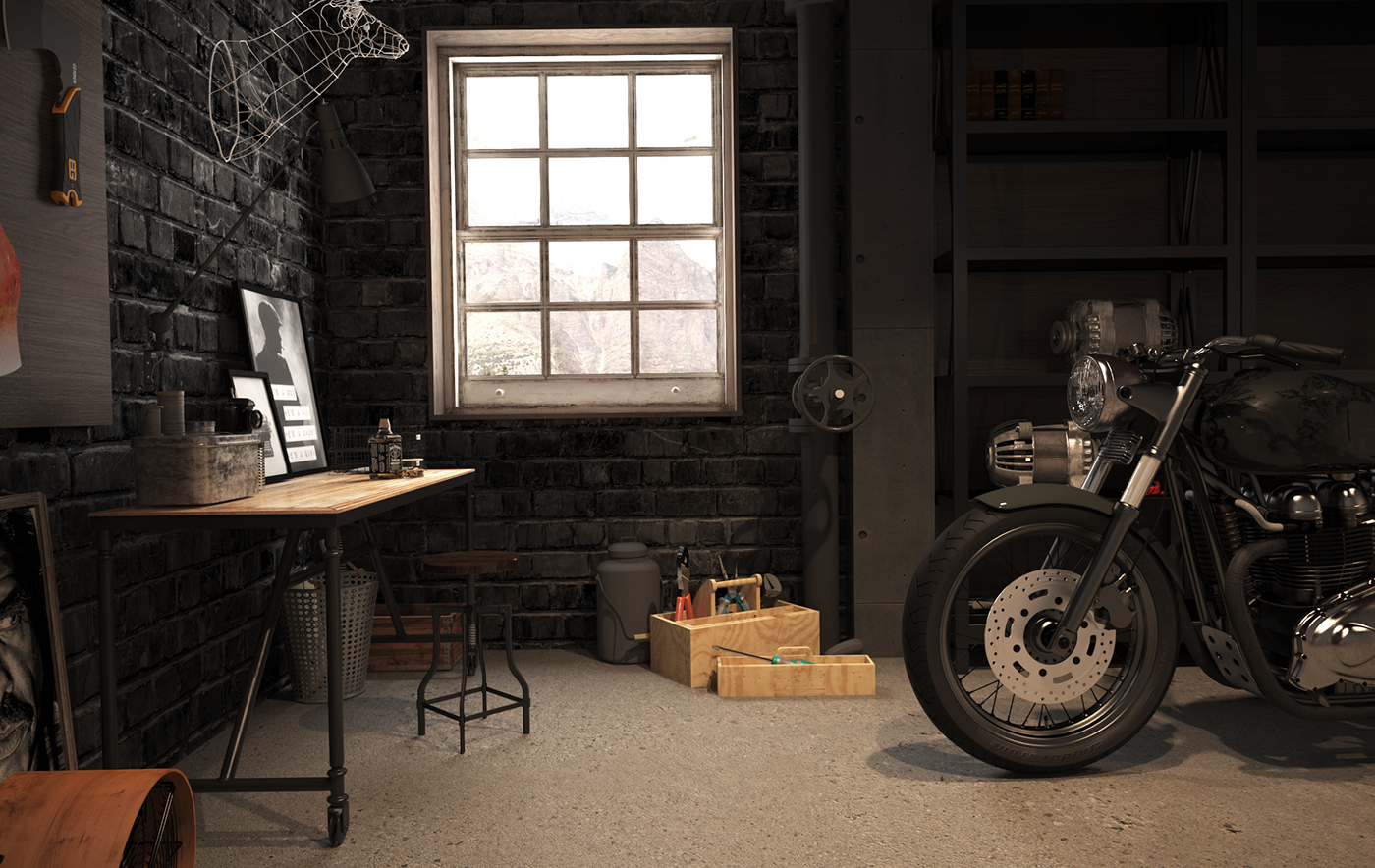 Vintage Motorcycle Garage on Behance