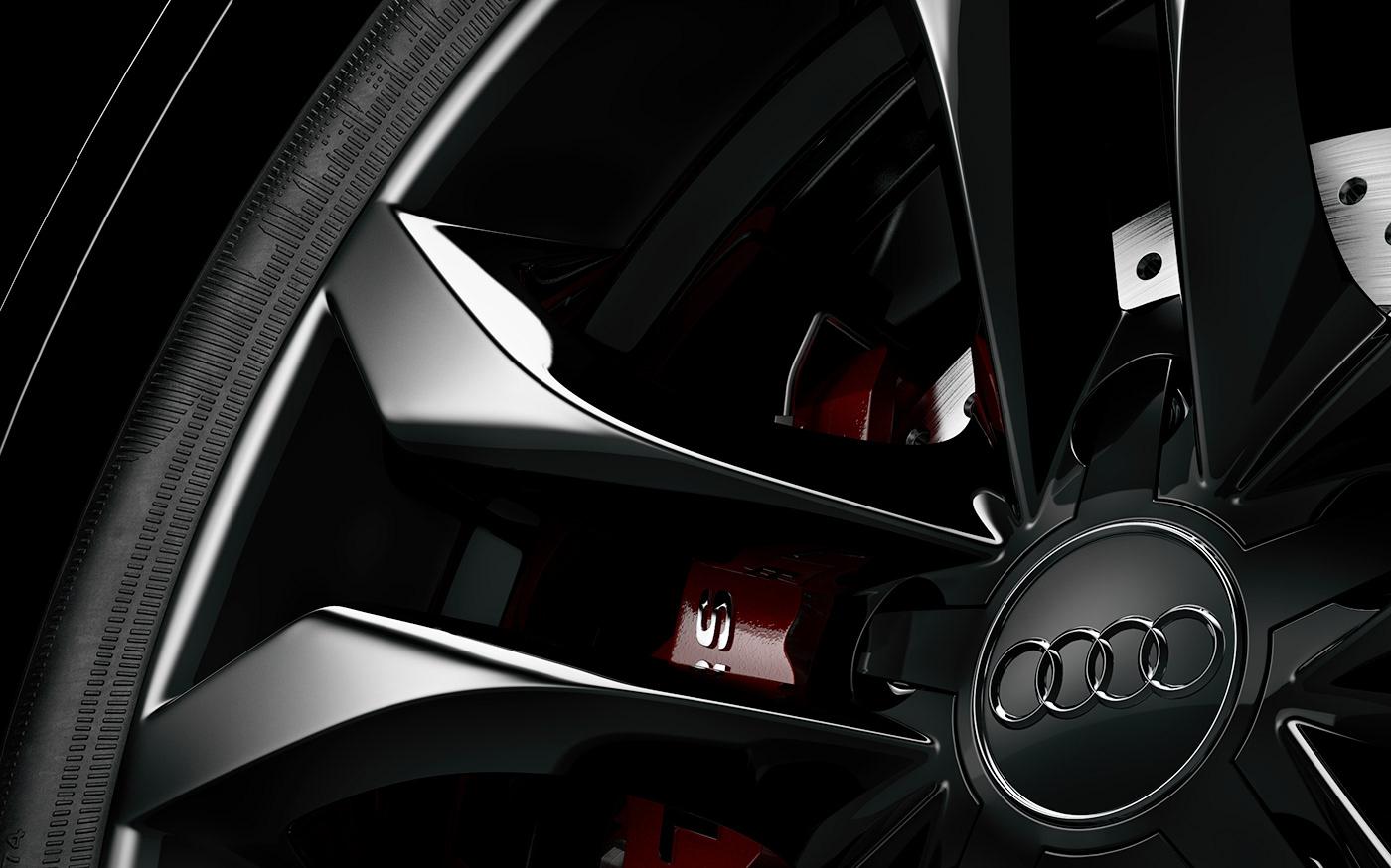 3D CGI vray Visualising Audi audi tt Autmotive car wheel tyre