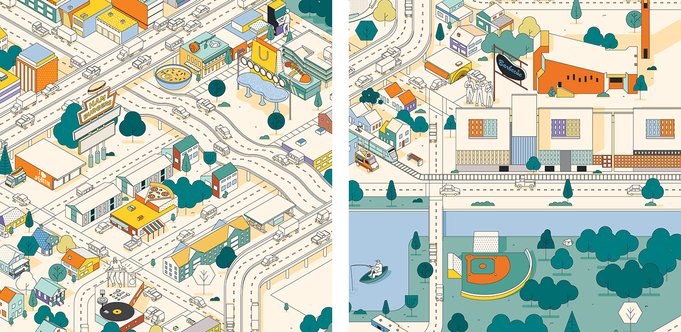 Character design  design graphic ILLUSTRATION  Isometric map maps oracle