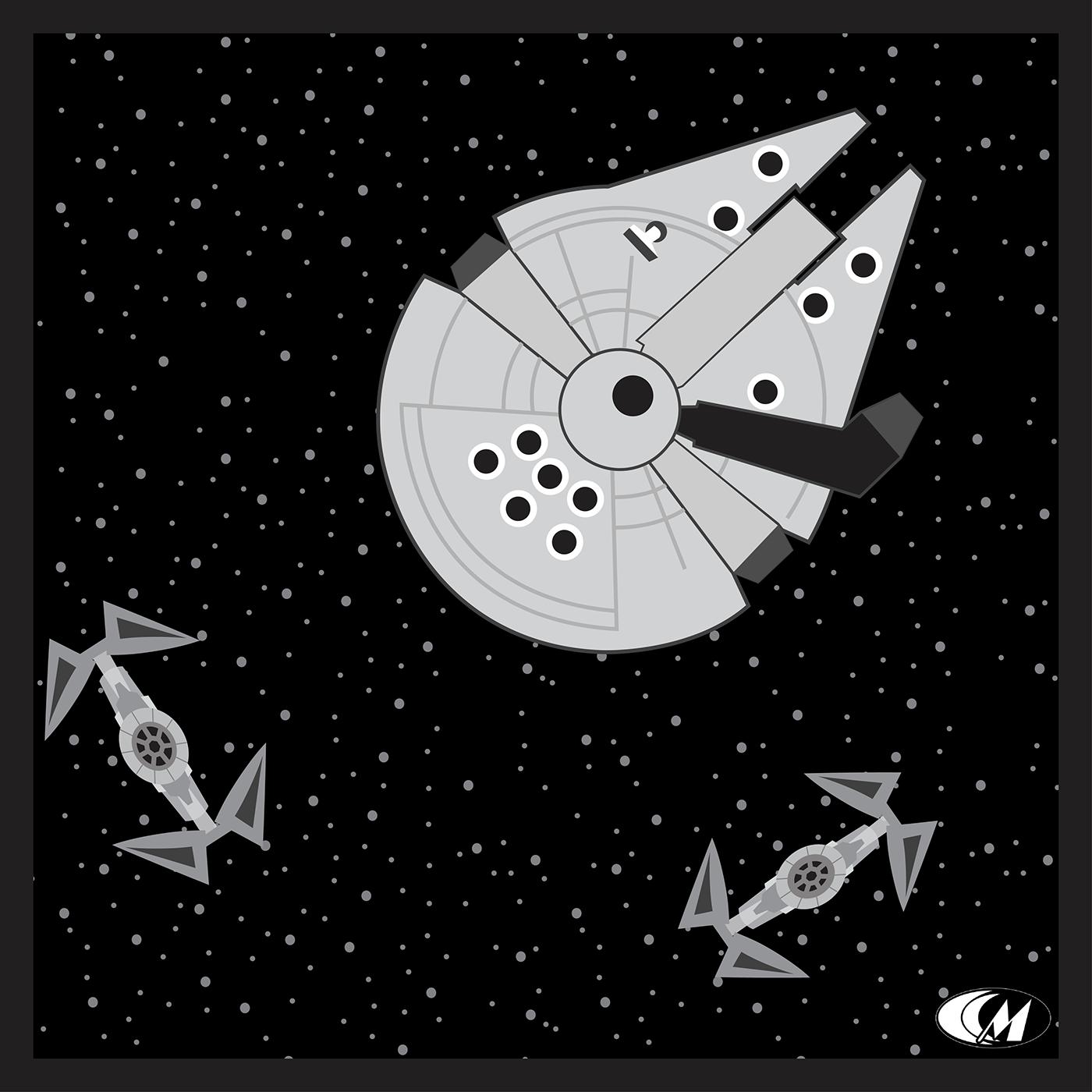 minimalist vector Space  star wars Princess Leia series