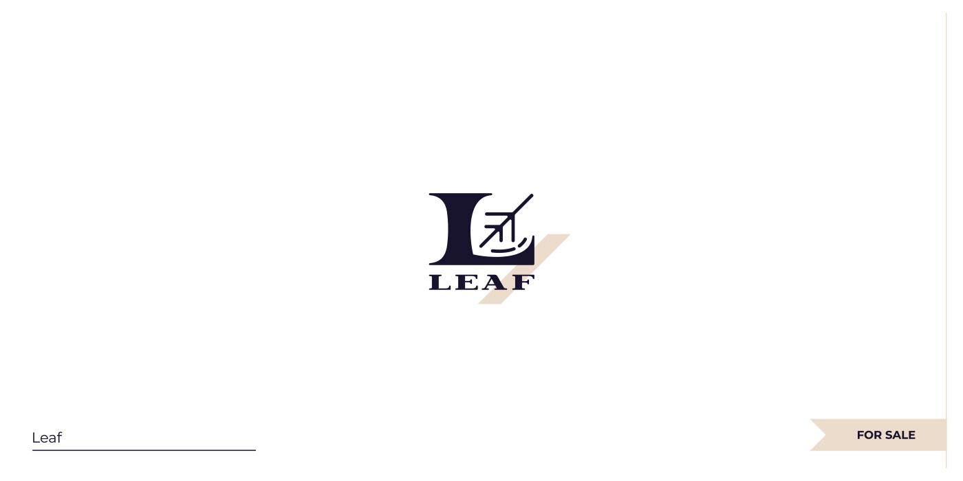 Negative space L+Leaf logo.