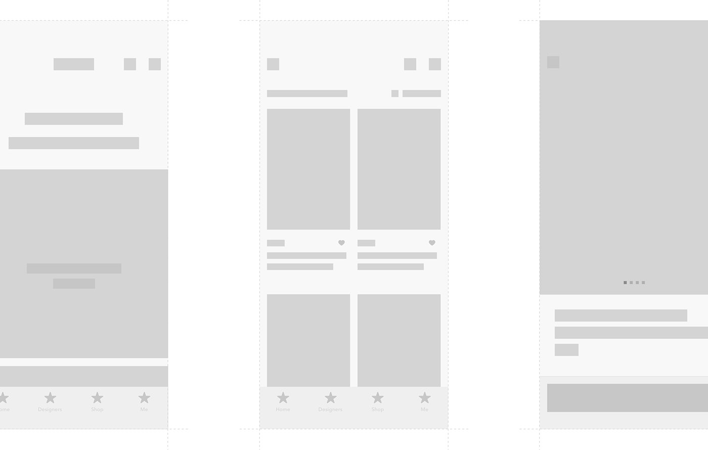 Layout and grid for main screens of a mobile shopping iOS app.