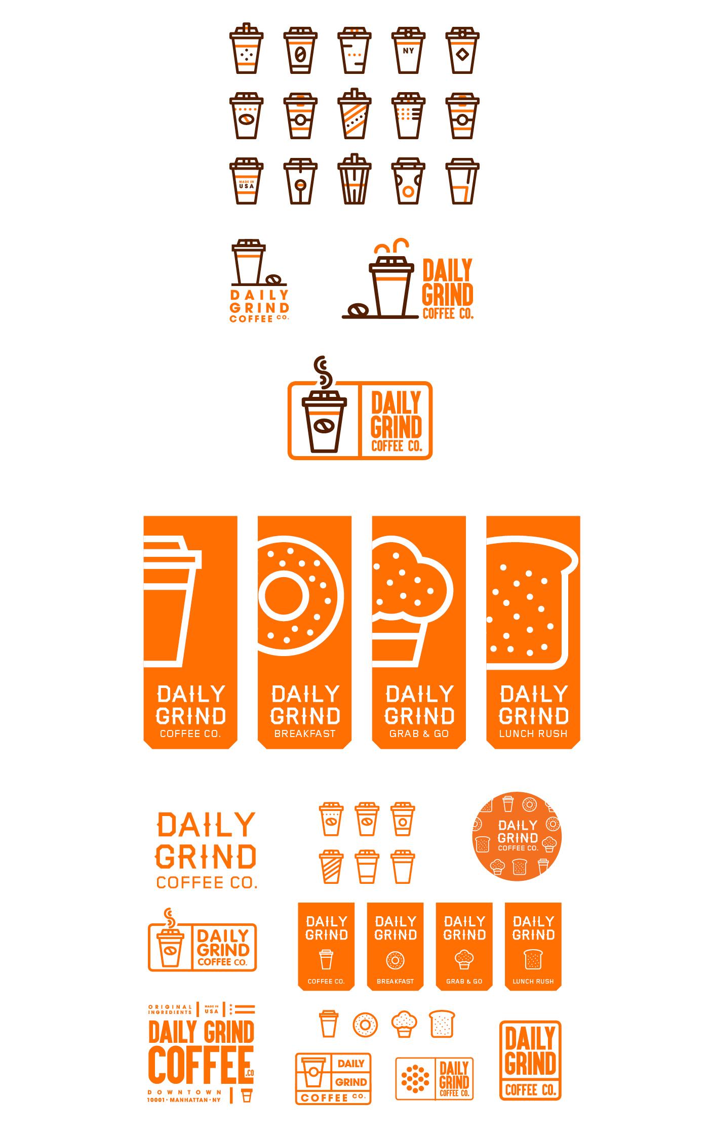 logo Coffee logomark icons downtown Manhattan cup orange New York identity nyc usa