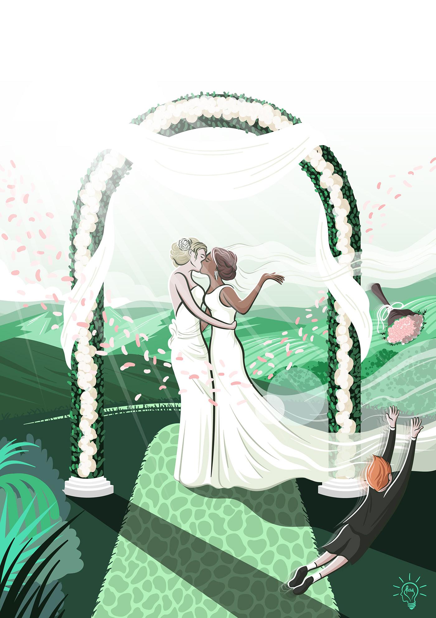 Image may contain: dance, wedding dress and cartoon