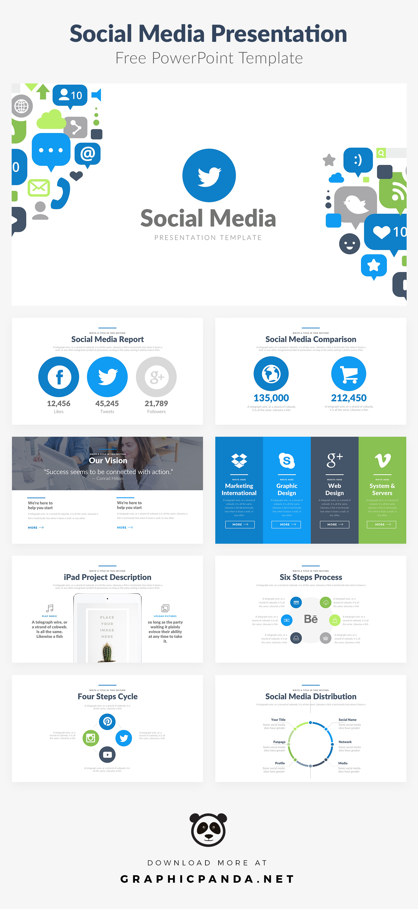 powerpoint templates powerpoint themes Free Template social media marketing   investor pitch deck report sales louis twelve
