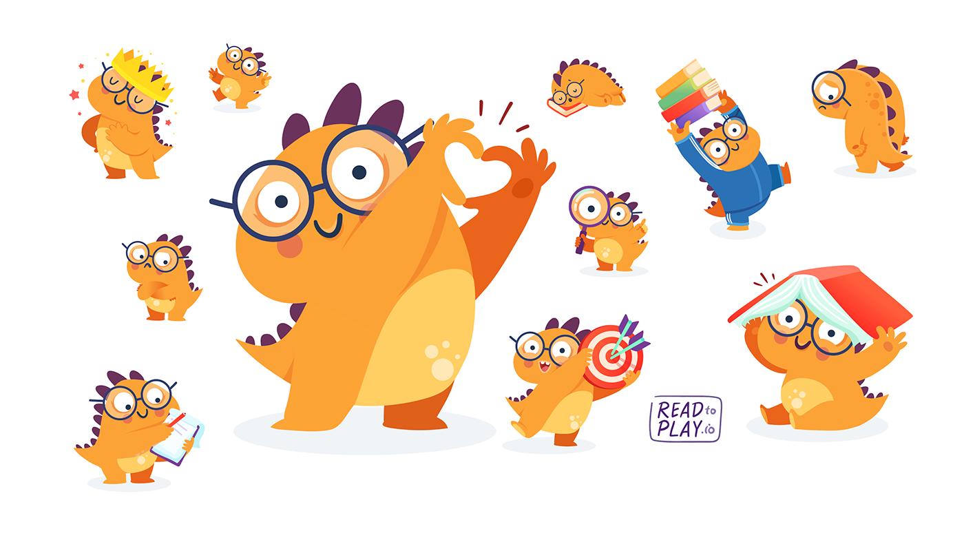 Dinosaur Dino orange Character Mobile app Character design  read Reading kids children