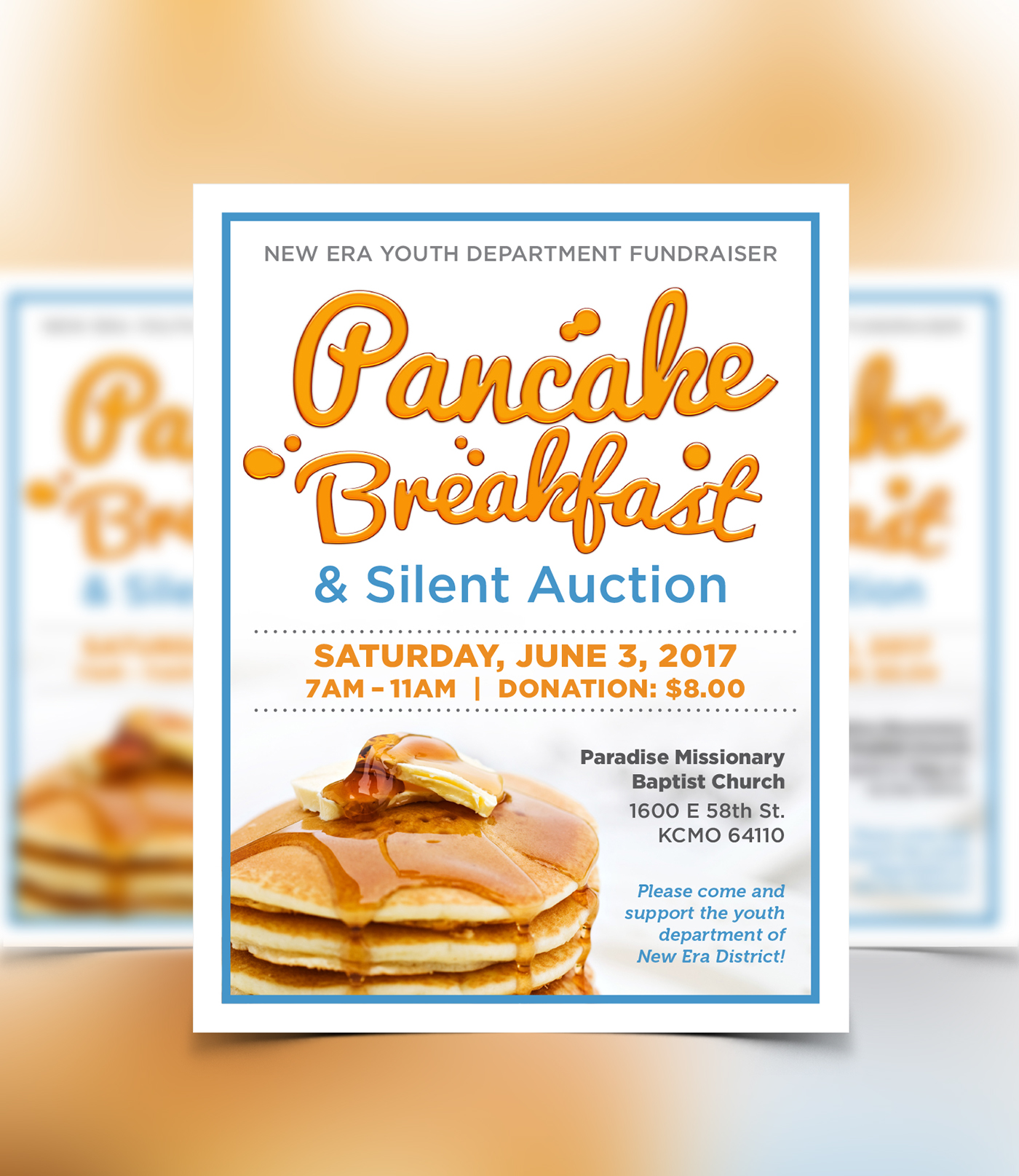 new era youth dept pancake breakfast fundraiser on behance. Black Bedroom Furniture Sets. Home Design Ideas