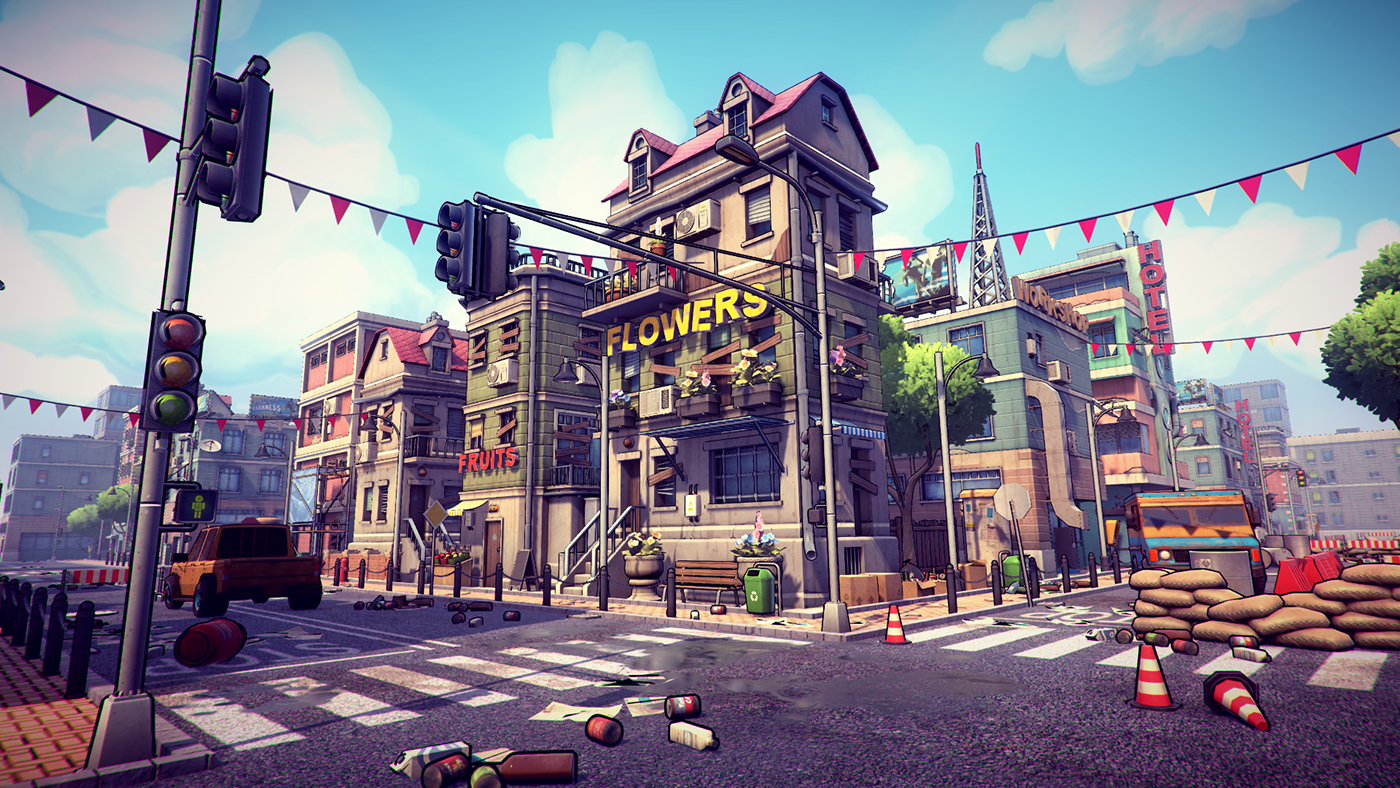 3d Postapocalyptic cartoon city pack on Behance