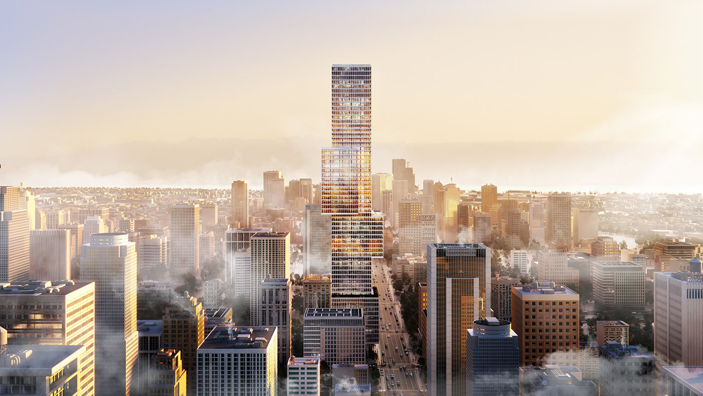 3D architecture CGI exterior High End luxury tower visualization