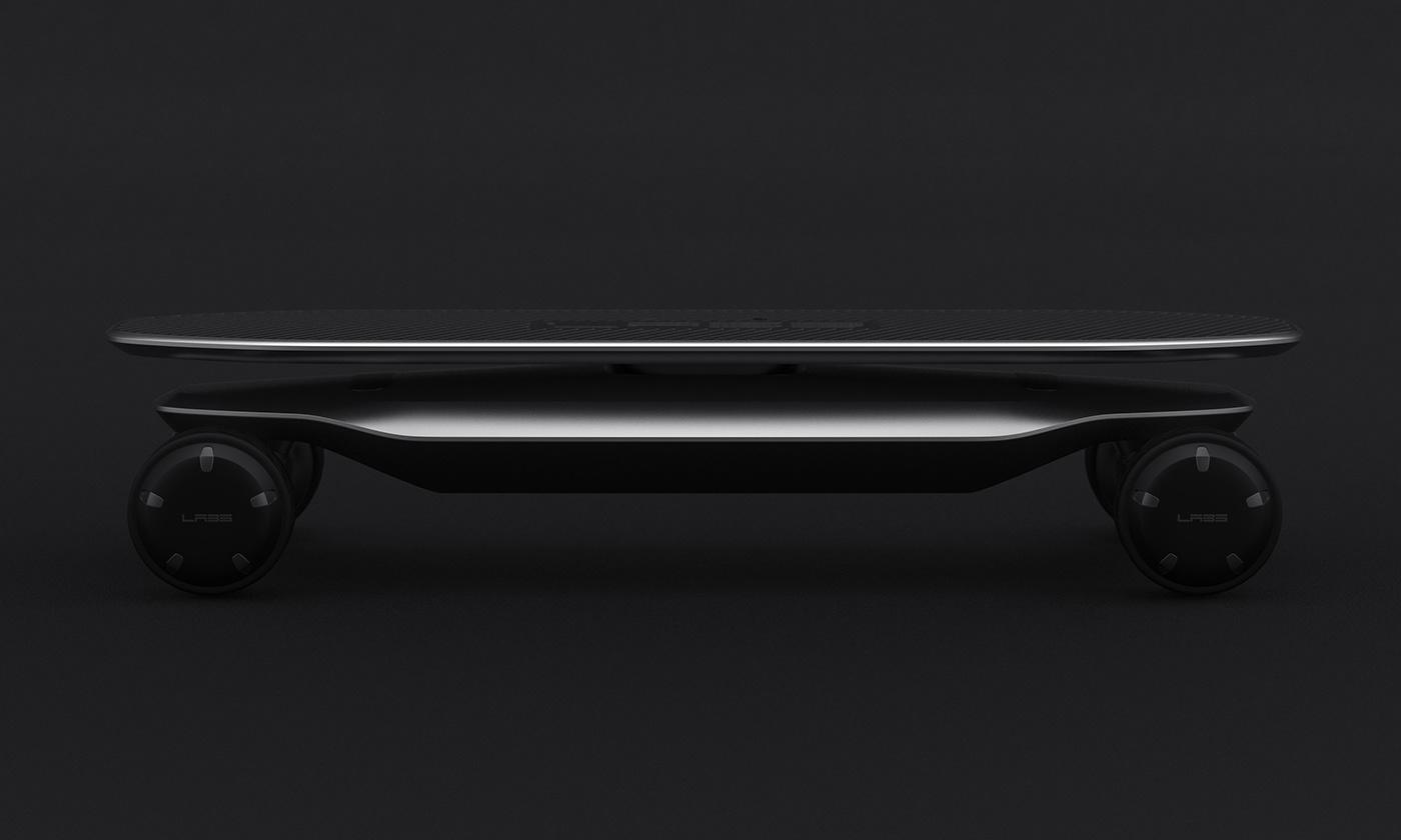 제품디자인회사 VLND의 김승우 디자인 디렉터가 디자인한 PLMM Electric Skateboard의 어두운 이미지.