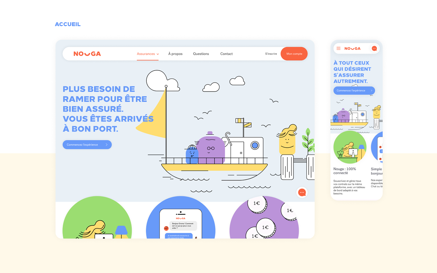 Homepage design with mobile template, accueil site web assurance
